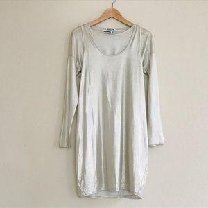 Jill Sander Silk Silver Two Piece Dress SZ S